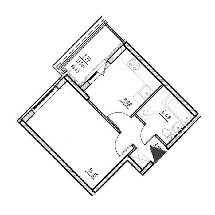 1-комнатная 29 м<sup>2</sup> на 2 этаже