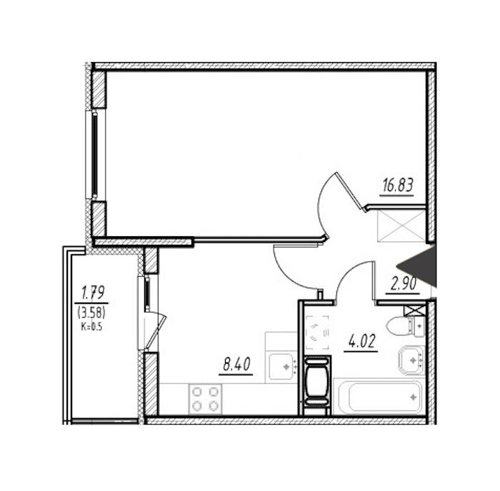 1-комнатная 32 м<sup>2</sup> на 11 этаже
