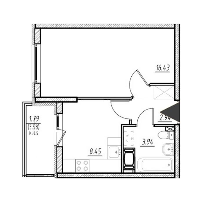 1-комнатная 31 м<sup>2</sup> на 3 этаже