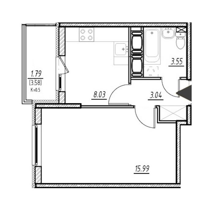 1-комнатная 30 м<sup>2</sup> на 22 этаже