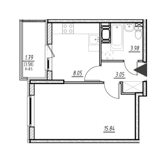 1-комнатная 30 м<sup>2</sup> на 10 этаже