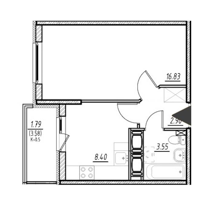 1-комнатная 31 м<sup>2</sup> на 16 этаже