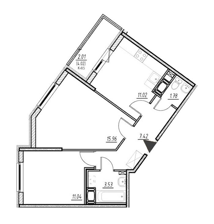 2-комнатная 50 м<sup>2</sup> на 24 этаже