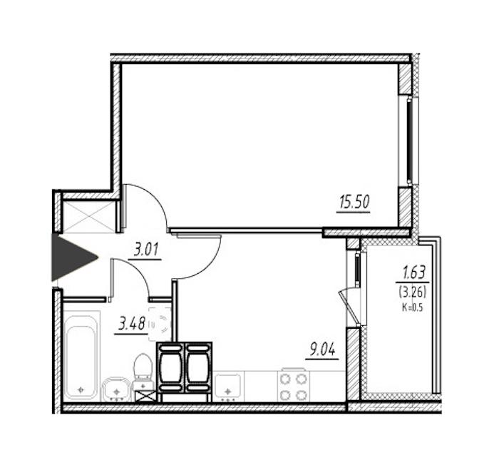 1-комнатная 30 м<sup>2</sup> на 21 этаже