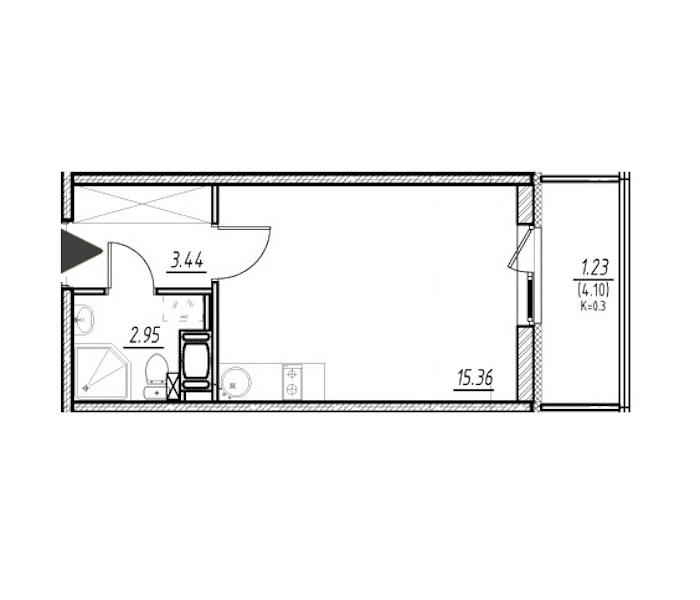 Студия 21 м<sup>2</sup> на 13 этаже