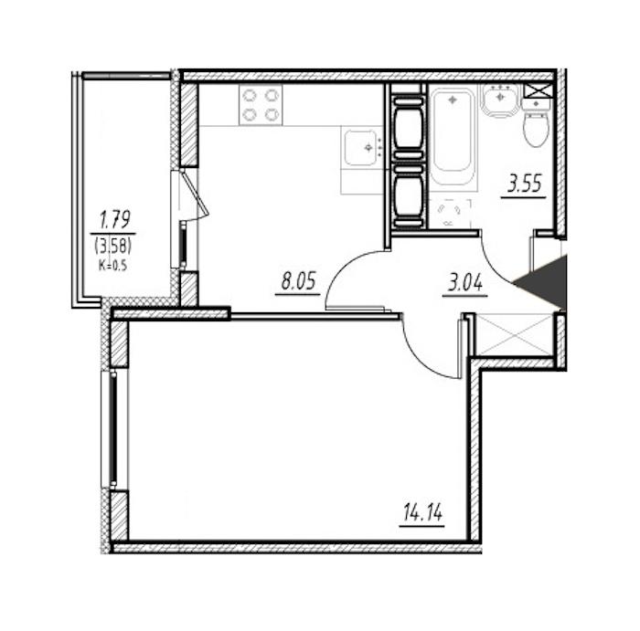 1-комнатная 28 м<sup>2</sup> на 21 этаже