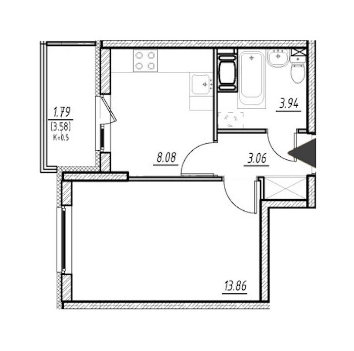 1-комнатная 28 м<sup>2</sup> на 4 этаже