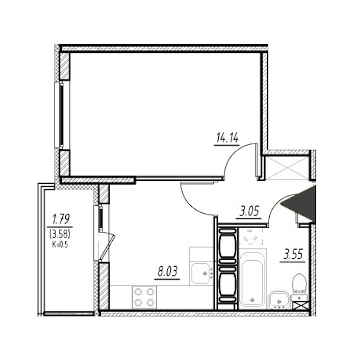 1-комнатная 28 м<sup>2</sup> на 24 этаже