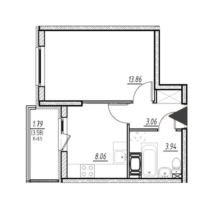 1-комнатная 28 м<sup>2</sup> на 5 этаже