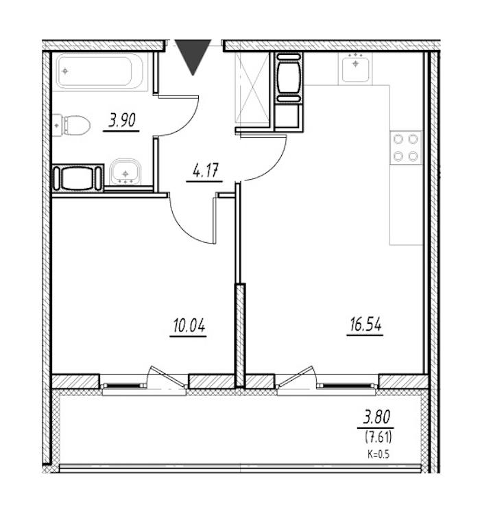 1-комнатная 34 м<sup>2</sup> на 21 этаже