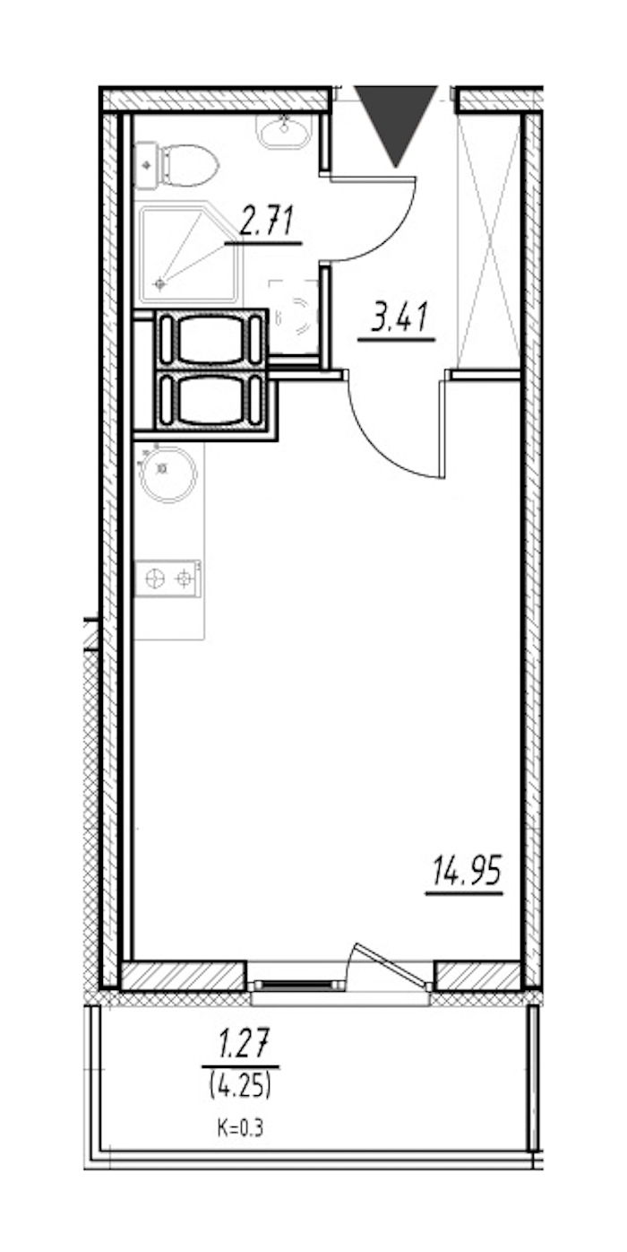 Студия 21 м<sup>2</sup> на 21 этаже