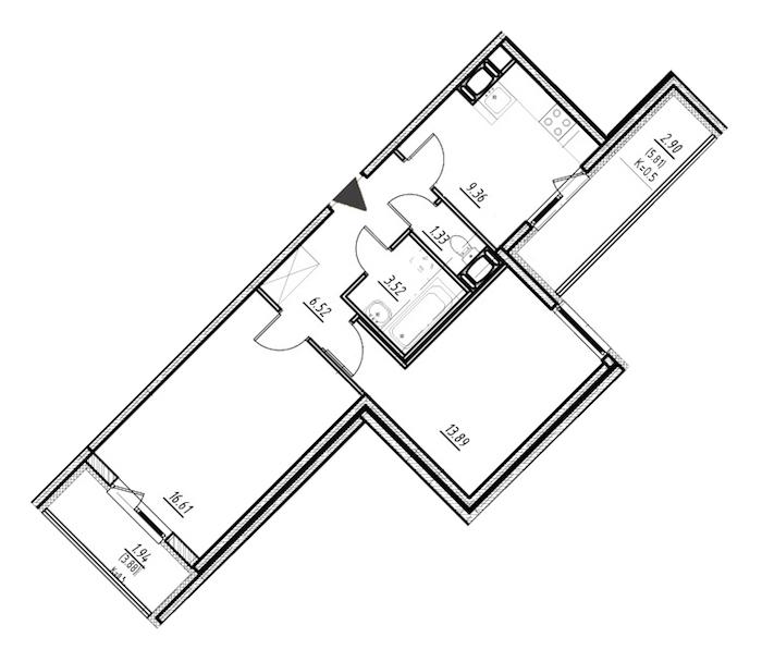 2-комнатная 51 м<sup>2</sup> на 7 этаже