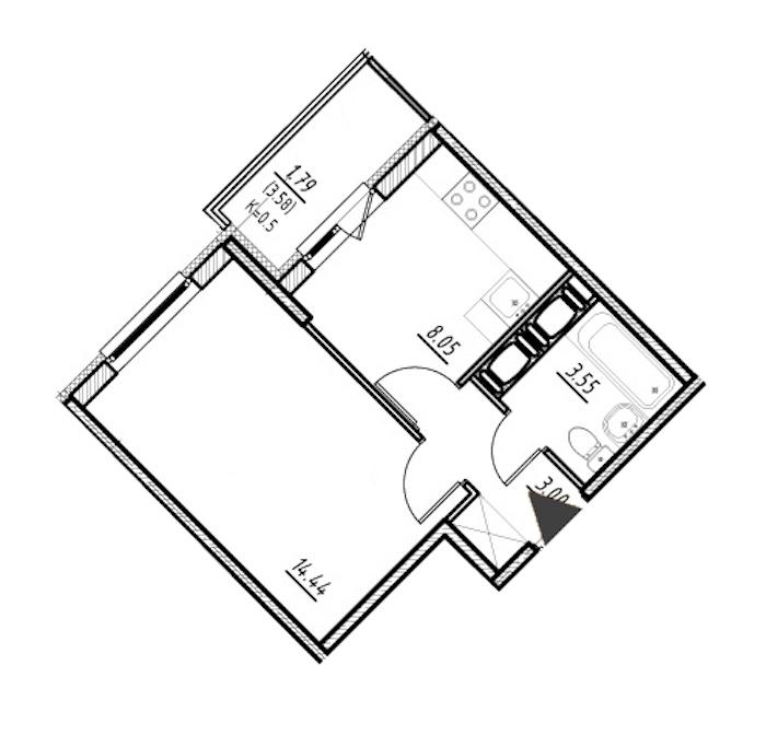 1-комнатная 29 м<sup>2</sup> на 18 этаже