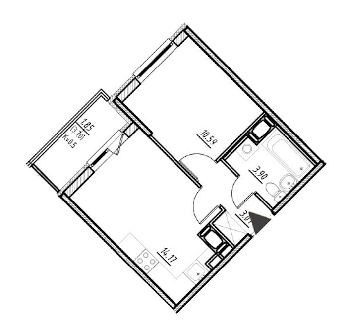 1-комнатная 31 м<sup>2</sup> на 24 этаже