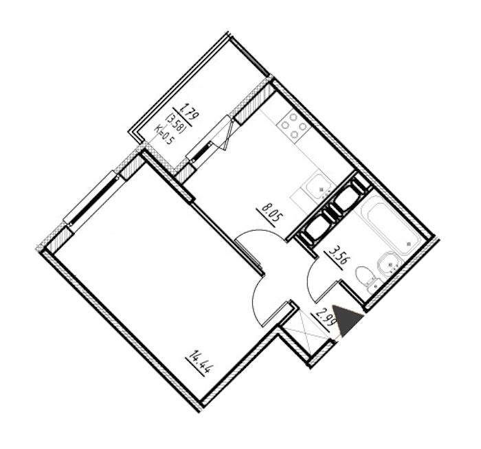 1-комнатная 29 м<sup>2</sup> на 15 этаже