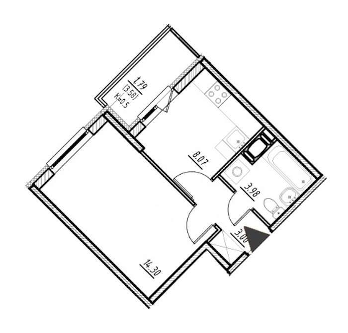 1-комнатная 29 м<sup>2</sup> на 7 этаже