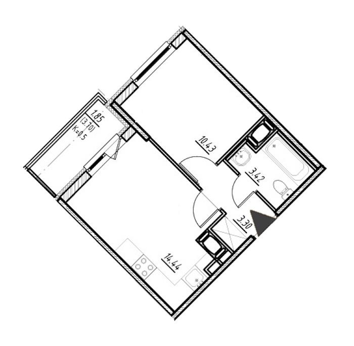 1-комнатная 31 м<sup>2</sup> на 21 этаже