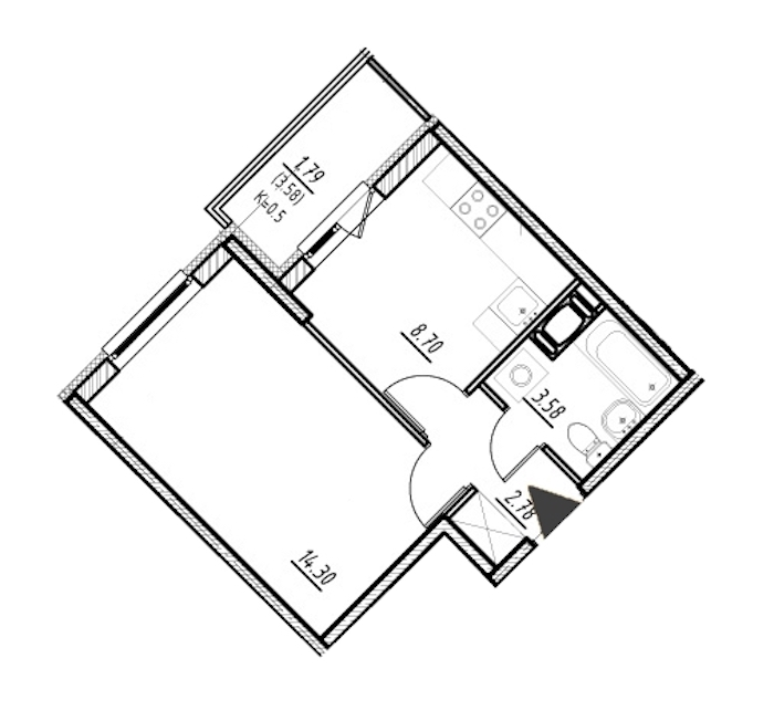 1-комнатная 29 м<sup>2</sup> на 8 этаже