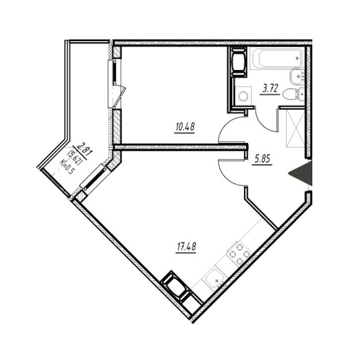 1-комнатная 37 м<sup>2</sup> на 22 этаже