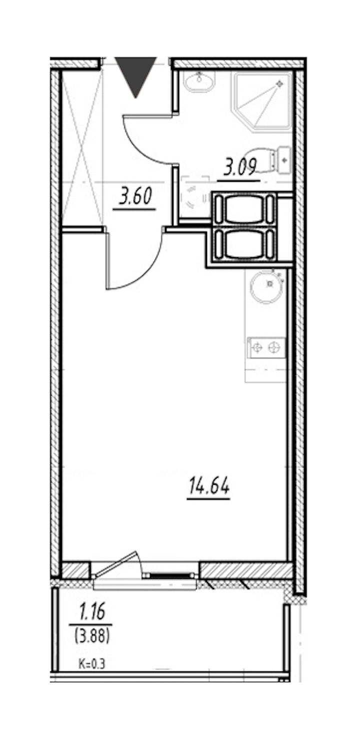 Студия 21 м<sup>2</sup> на 24 этаже
