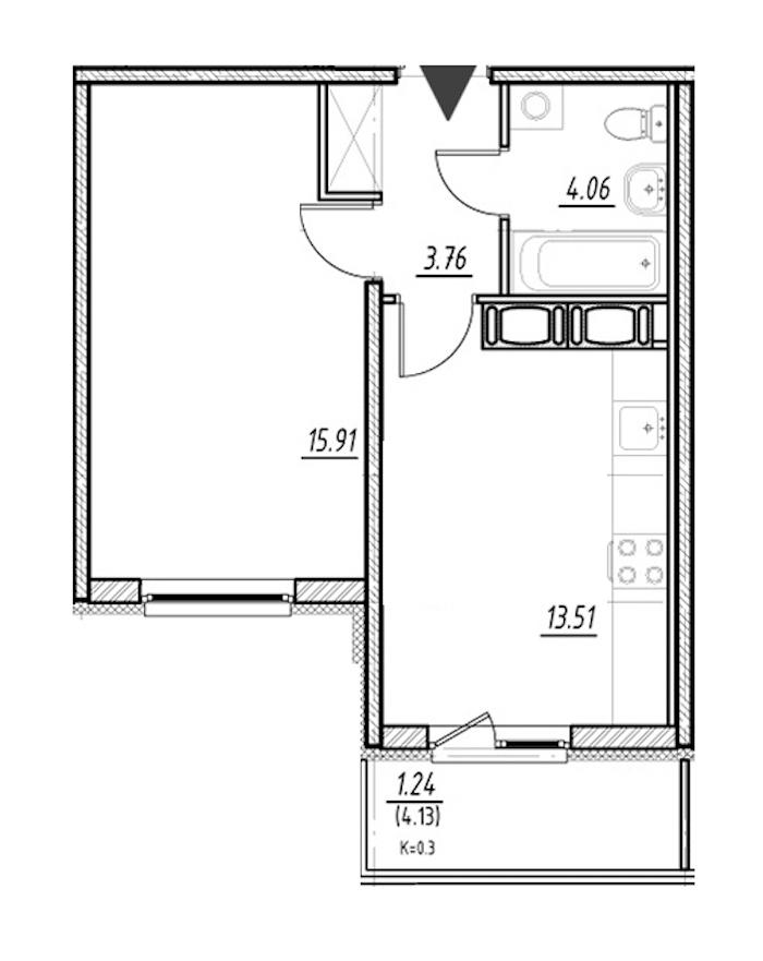 1-комнатная 37 м<sup>2</sup> на 23 этаже