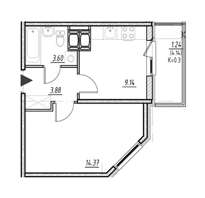 1-комнатная 30 м<sup>2</sup> на 24 этаже