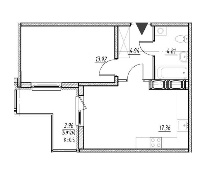1-комнатная 41 м<sup>2</sup> на 23 этаже