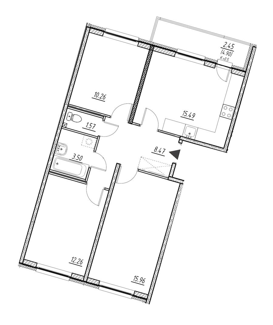3-комнатная 67 м<sup>2</sup> на 1 этаже