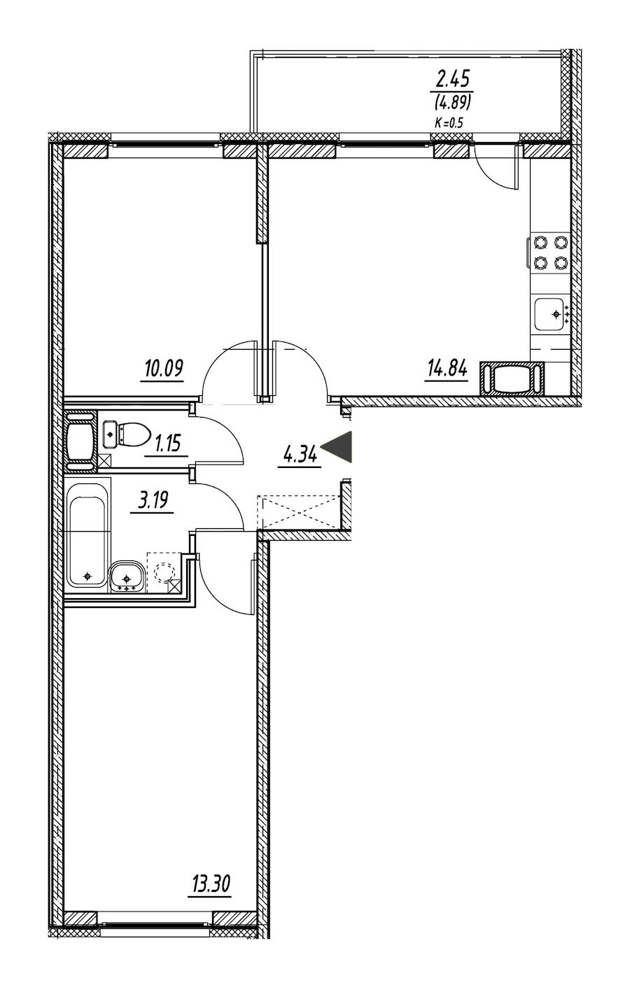 2-комнатная 46 м<sup>2</sup> на 3 этаже