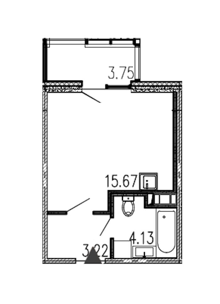Студия 23 м<sup>2</sup> на 12 этаже