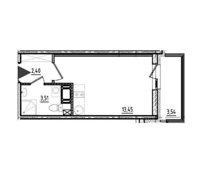 Студия 19 м<sup>2</sup> на 19 этаже
