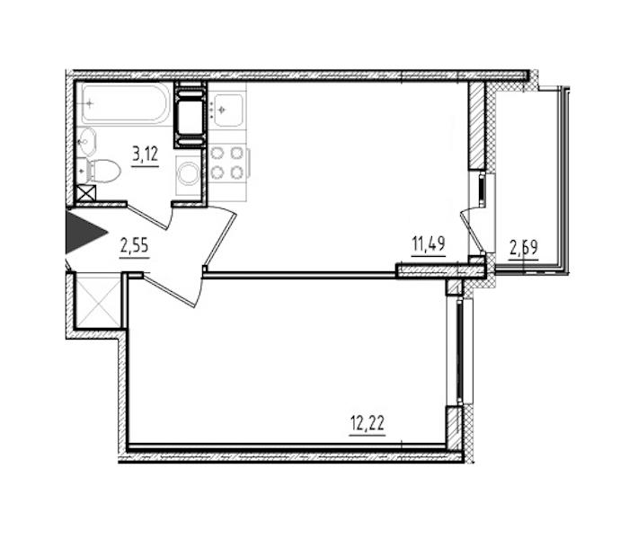 1-комнатная 29 м<sup>2</sup> на 10 этаже