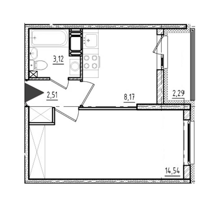 1-комнатная 28 м<sup>2</sup> на 9 этаже
