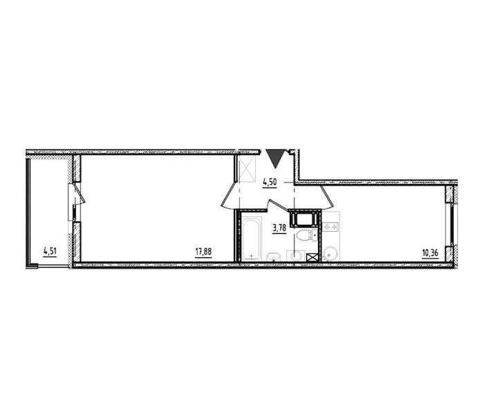 1-комнатная 36 м<sup>2</sup> на 17 этаже