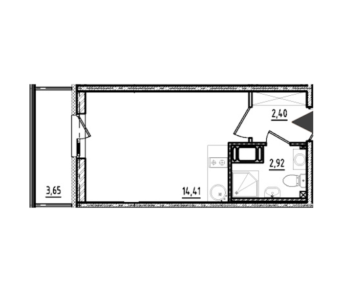 Студия 19 м<sup>2</sup> на 17 этаже