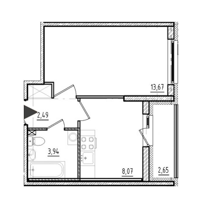 1-комнатная 28 м<sup>2</sup> на 1 этаже