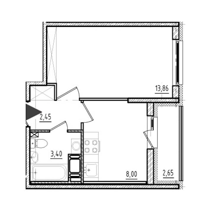 1-комнатная 27 м<sup>2</sup> на 19 этаже