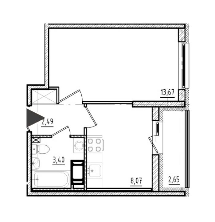 1-комнатная 27 м<sup>2</sup> на 9 этаже