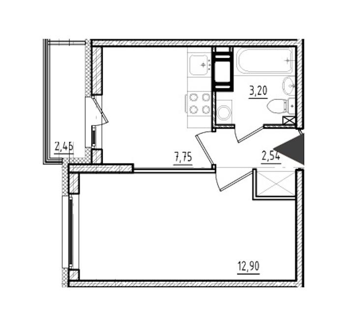 1-комнатная 26 м<sup>2</sup> на 10 этаже