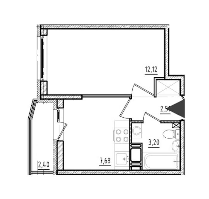 1-комнатная 25 м<sup>2</sup> на 18 этаже