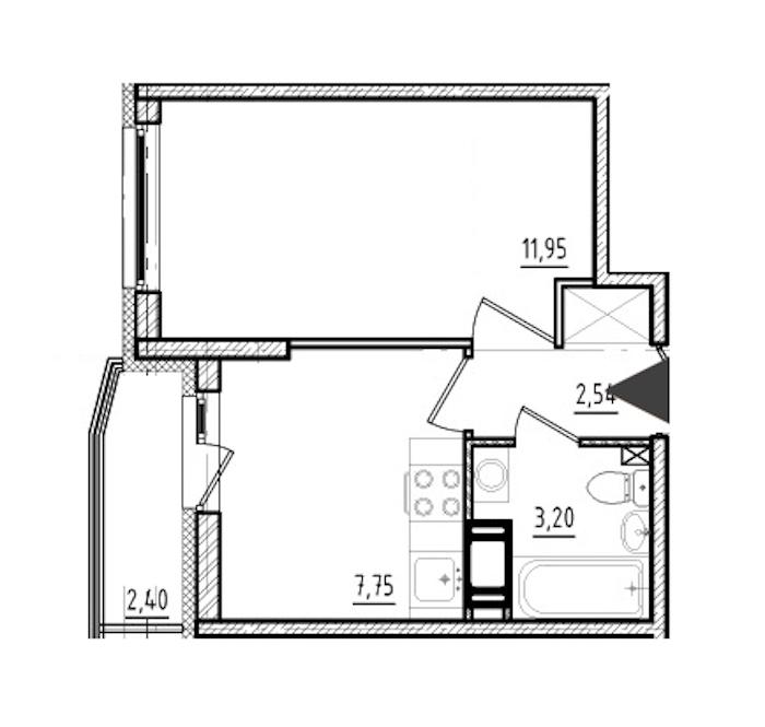 1-комнатная 25 м<sup>2</sup> на 9 этаже