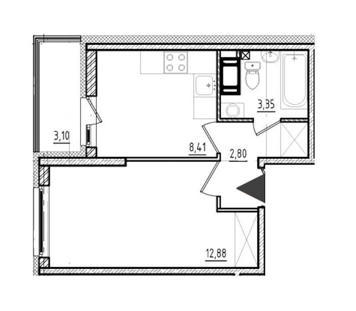 1-комнатная 27 м<sup>2</sup> на 6 этаже
