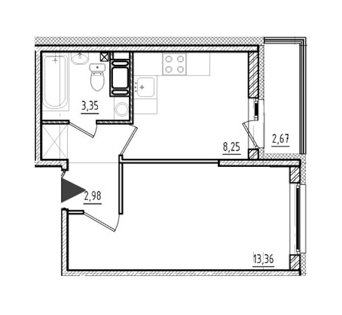 1-комнатная 27 м<sup>2</sup> на 18 этаже