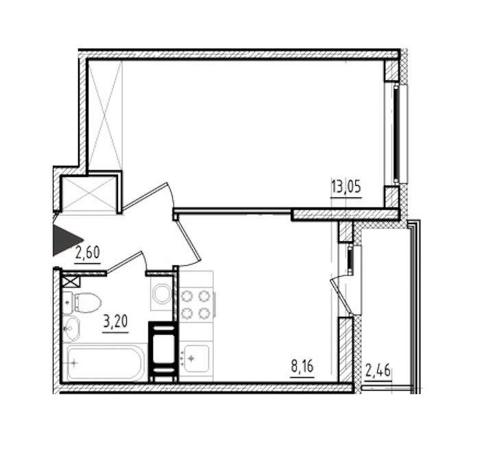 1-комнатная 27 м<sup>2</sup> на 5 этаже