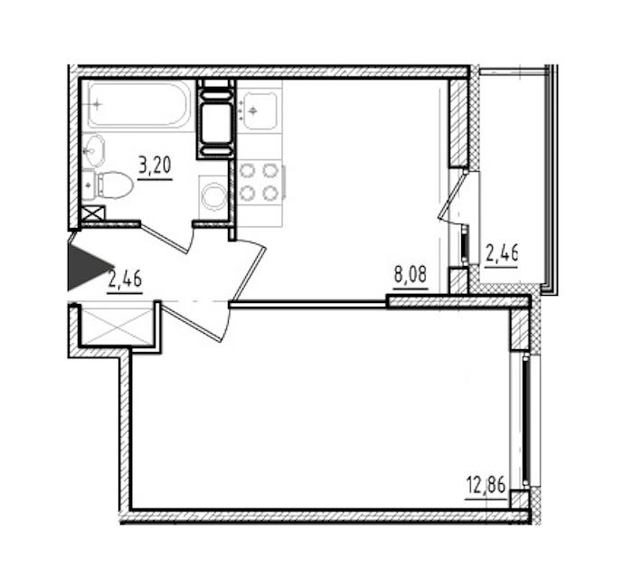 1-комнатная 26 м<sup>2</sup> на 19 этаже