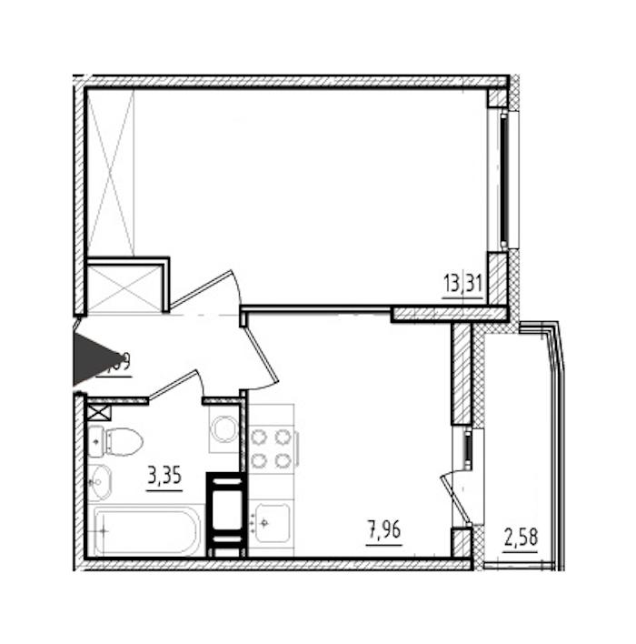 1-комнатная 27 м<sup>2</sup> на 10 этаже