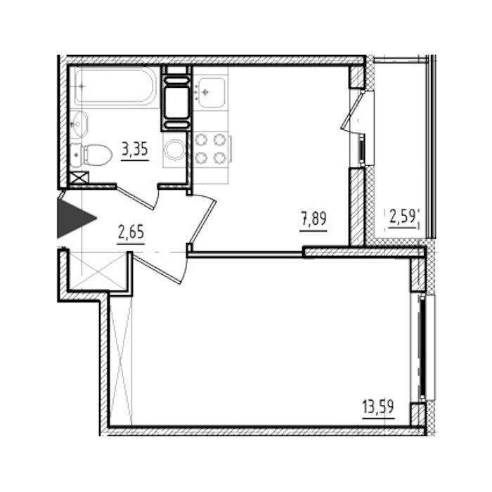 1-комнатная 27 м<sup>2</sup> на 17 этаже