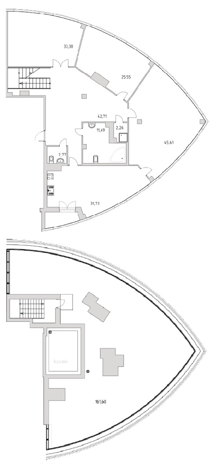 3-комнатная 250 м<sup>2</sup> на 12 этаже