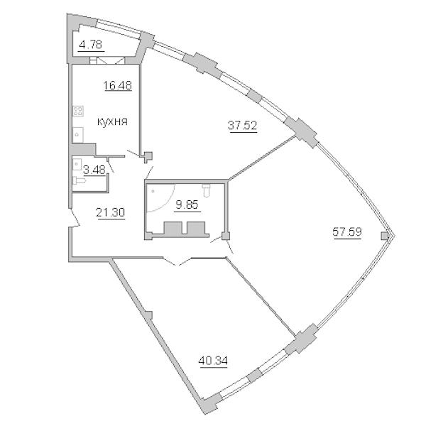 3-комнатная 191 м<sup>2</sup> на 14 этаже