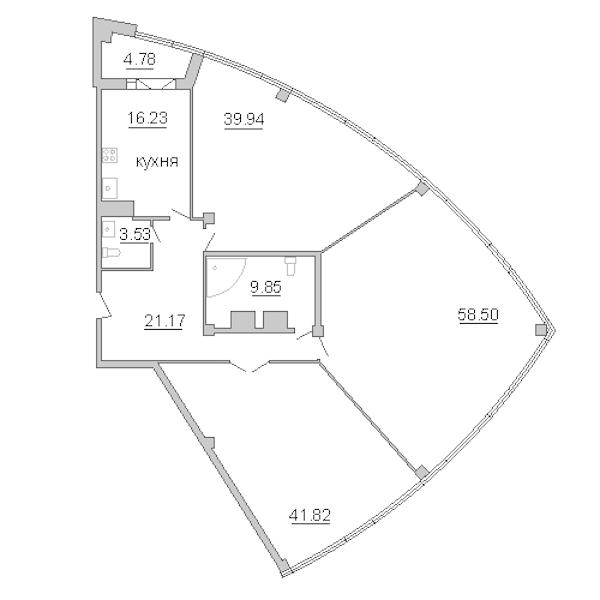 3-комнатная 194 м<sup>2</sup> на 15 этаже